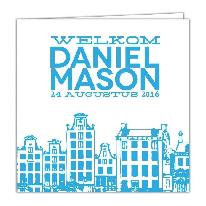 Geboortekaartje Amsterdam - leuke turquoise herenhuisjes en strak rechthoek met naam en geboortedatum