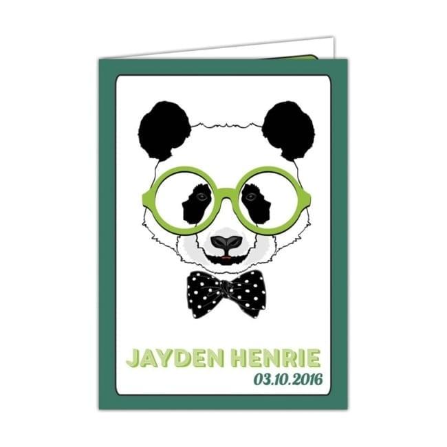 Geboortekaartje Panda presenteert een grappige panda met een grote, groene bril op - Cartoon geboortekaartjes