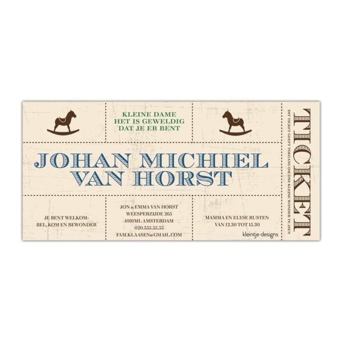 Geboortekaartje Ticket - een geboorte-aankondiging met een ontwerp in de stijl van een ticket; origineel idee