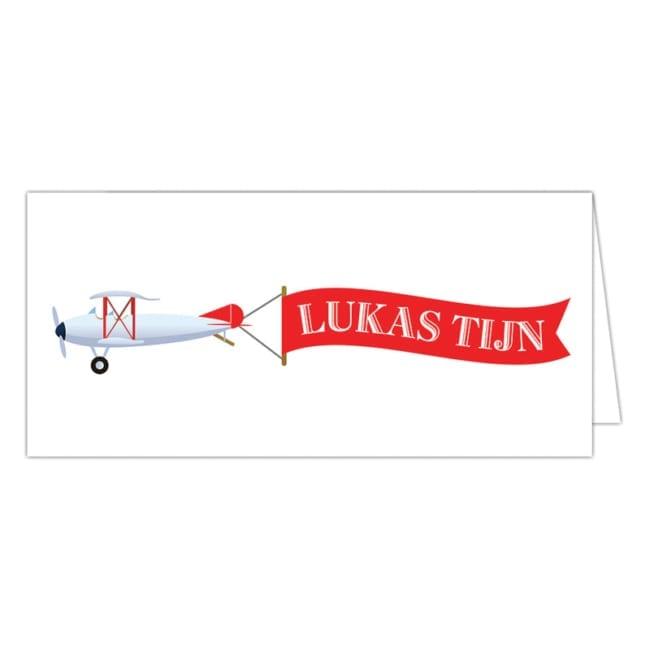 Een leuk vliegtuigje met een lange banner die jullie kindje aankondigt. Geboortekaartje Vliegtuigje is een vrij eenvoudig ontwerp in een eigentijdse stijl.