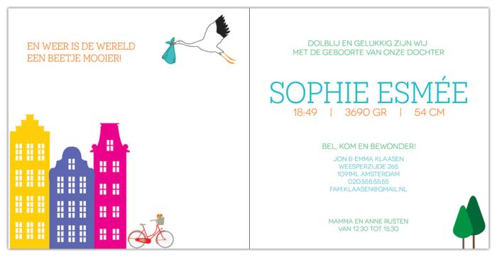 Geboortekaartje Hollandse Bodem - Nederlands thema met herenhuisjes, fiets en boompjes. Binnenzijde van geboortekaartje.