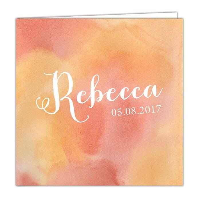 Geboortekaartje Waterverf - hele voorkant is gevuld met geschilderde kleur. Voorkant van geboortekaartje met babynaam in sierlijk lettertype en geboortedatum.
