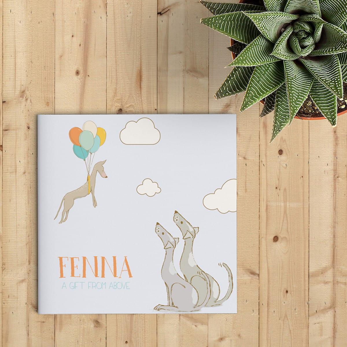 De prachtig getekende illustraties op geboortekaartje Hondjes zijn schattig en creëren een bijzondere sfeer. Een puppy als geschenk uit de hemel.