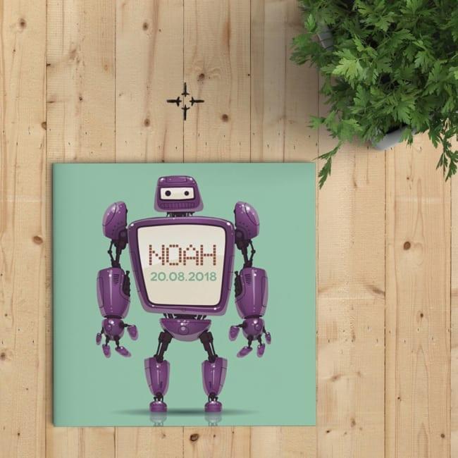 Geboortekaartje Robot is een eigenwijs ontwerp, met trendy kleuren en een gedetailleerde en gepolijste illustratie. De robot kondigt de baby aan!