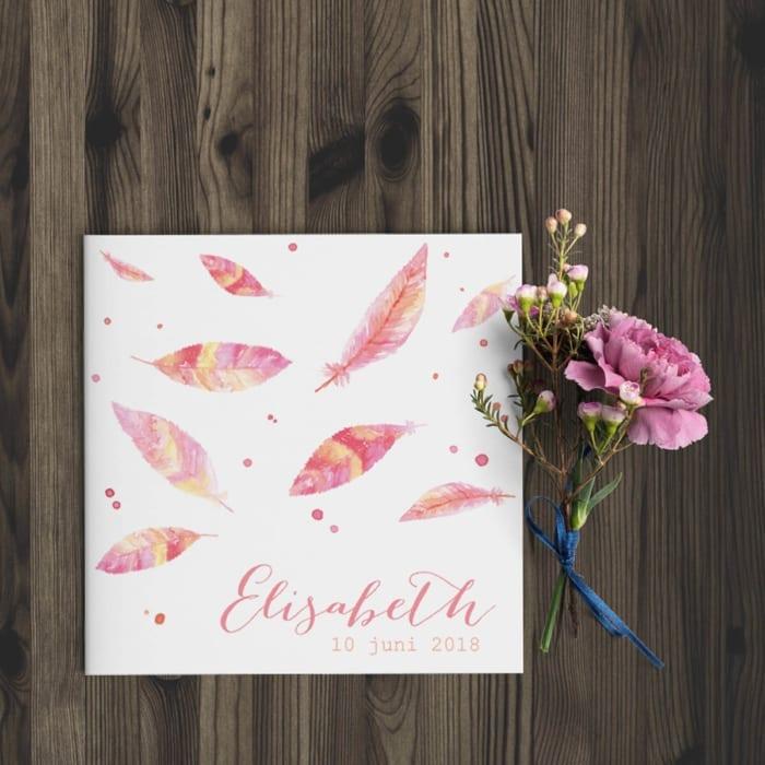 Prachtige, handgeschilderde veertjes dwarrelen naar beneden op de voorkant van geboortekaartje Waterverf Veertjes. In roze- en geeltinten, zachte kleuren.