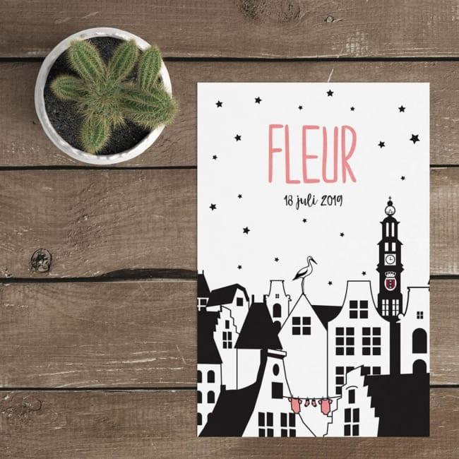 Een mooi Hollands geboortekaartje, dit ontwerp is gemaakt ter ere van Amsterdam. De prachtige Westerkerk is één van de meest herkenbare kerktorens.