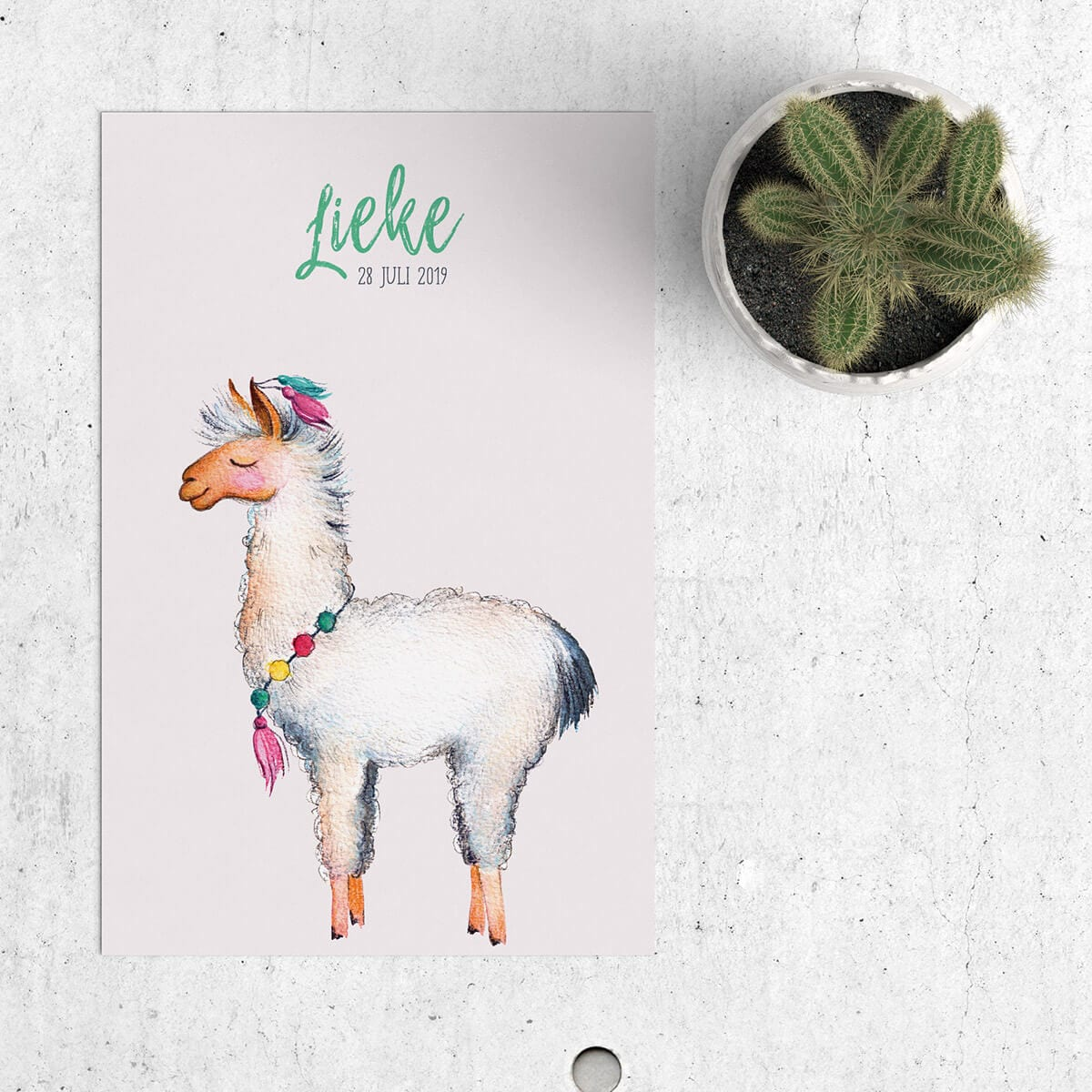 Geboortekaartje Lieve Lama is een origineel en apart kaartje, vooral omdat er een Lama op staat! Een dier dat je niet vaak tegenkomt op geboortekaartjes. Onderdeel van lieve geboortekaartjes.
