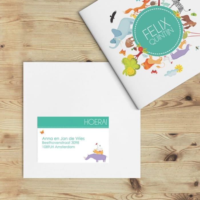 Adressticker voor de geboortekaartje Wereld van Dieren Petrol, met een aantal van de diertjes van het kaartje. De ontwerpstijl sluit er zo perfect bij aan.