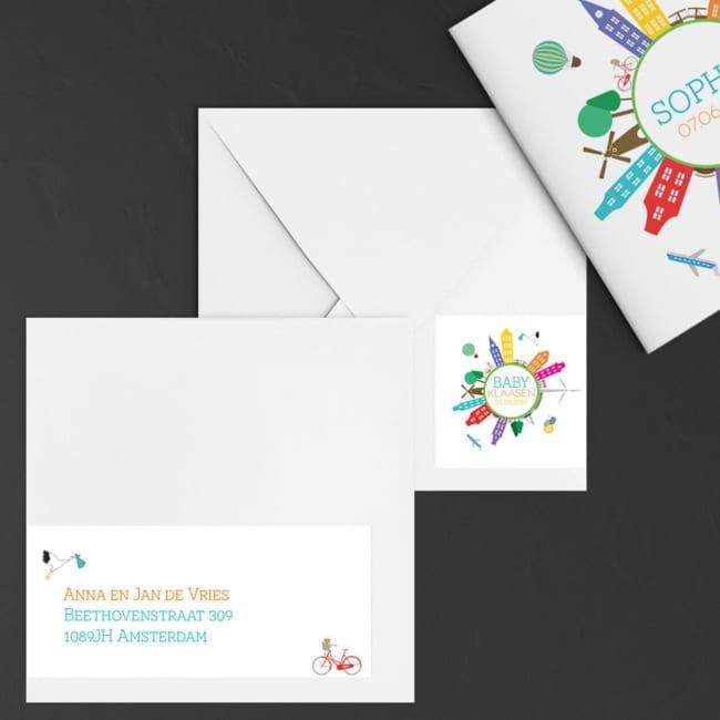 Adreslabels voor geboortekaartjes met een hollands thema.