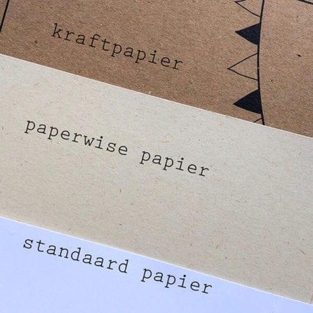 Vergelijking van papiersoorten, kraftpapier en paperwise papier. Milieuvriendelijk papier.