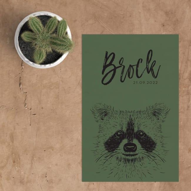 Geboortekaartje Wasbeer is versiert met een illustratie van een schattig wasbeertje. Mooie kleurcontrasten van zwart en groen. Leuke lettertypes.
