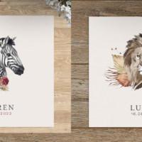 Nieuwe Geboortekaartjes | Leeuw en Zebra met aquarel geschilderd